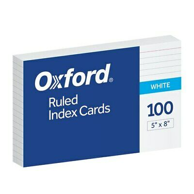 Oxf40165 Oxford Ruled Index Cards 5 X 8 White 100 Per Pack