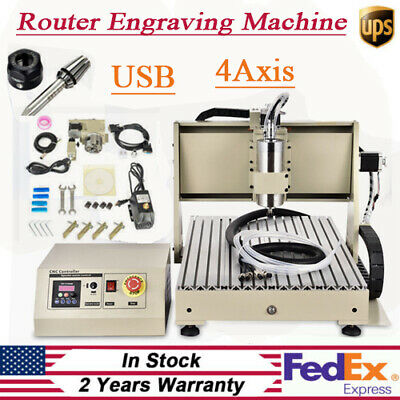 Usb 4axis Cnc Router 6040 Engraver Machine Diy Pcb Wood Metal Carving Kit