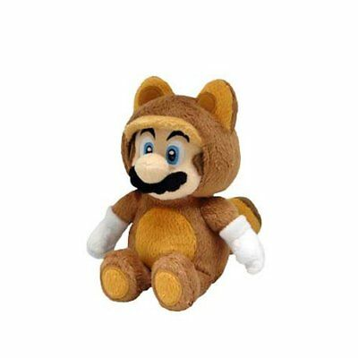 "Sanei Nintendo Super Mario Bros 9"" Tanooki Mario Stuffed Plush Toy Doll"