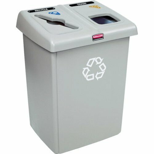 Rubbermaid 1792371 Beige Glutton Rectangular Recycling Station 46 Gal