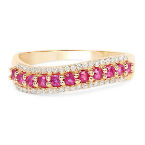 14k Yellow Gold Ring with Ruby Stone