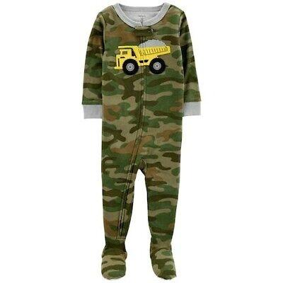 Green Footed Sleeper Pajamas (CARTER'S 1PC GREEN CAMO CONSTRUCTION TRUCK BOYS FOOTED SLEEPER PAJAMAS 12M)