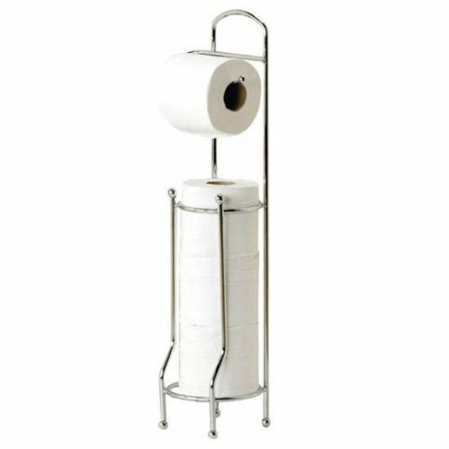Free Standing Toilet Loo Roll Holder Toilet Tissue Paper Storage Stand Rack NEW