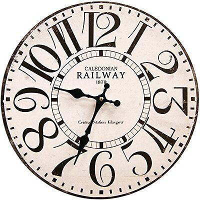 "Year Wood Wall Clock 13"" Home/Office Decor Rustic Shabby Chic Art Railway Fun"