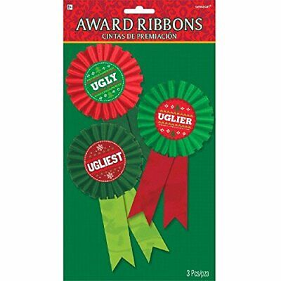 Amscan Ugly Uglier Ugliest Sweater 3 Count Award Ribbon Badges Christmas Party for sale  Dallas