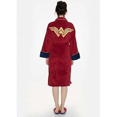 NEW Wonder Woman Womens Super Hero Adult Dressing Gown Bath Robe Slippers Mules - Superhero Nightgown