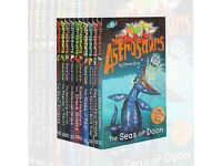 Astrosaurs collection by Steve Cole - 10 books - not read complete with collectors cards