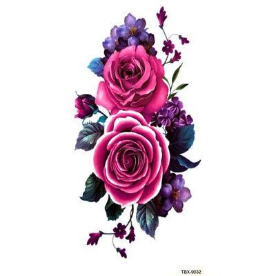 Purple Rose Blossom Flower Temporary Tattoos Stickers Body Art 3D  Waterproof UK (Purple Flower Tattoo)