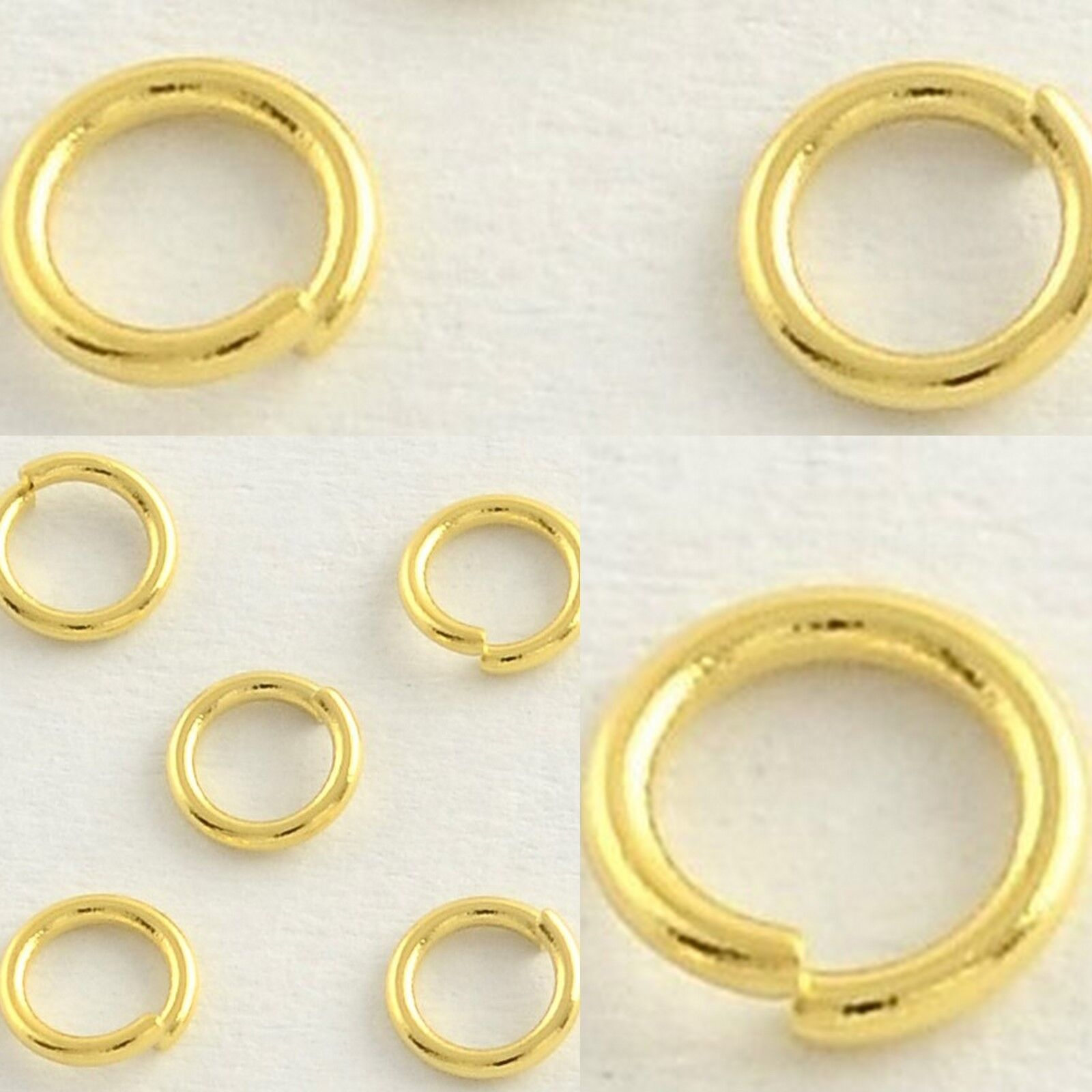 d41cab26fb35d Details about 8mm x .8mm 20 Gauge Gold Plated Stainless Steel Jump Rings  Findings Connector