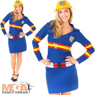 Firegirl Ladies Fancy Dress Fire Fighter Uniform Occupation Hen Womens Costume (Occupation Fancy Dress)