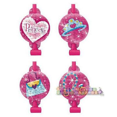 PRINCESS BLOWOUTS (8) ~ Birthday Party Supplies Favors Girly Pink Tiara Fashion
