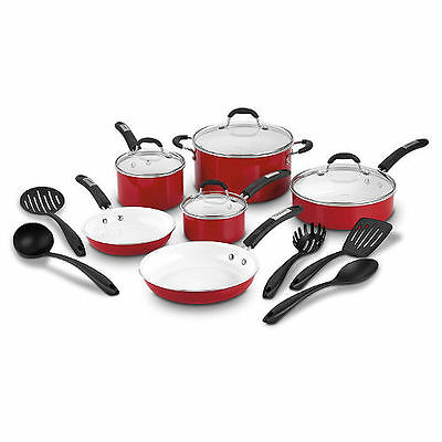 Cuisinart 15-Piece Ceramic Nonstick Cookware Set, Red