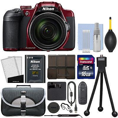Nikon Coolpix B700 20.2MP 4K Digital Camera 60x Optical Zoom Red + 16GB Kit