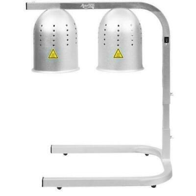 2 Bulb Heat Lamp Food Warmer Aluminum Station Free Standing Restaurant Fries