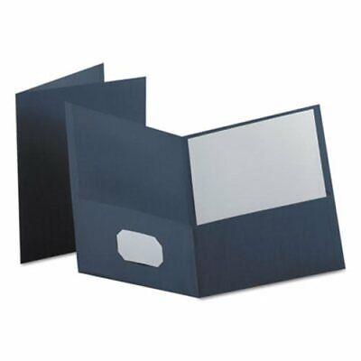 Oxford Twin-pocket Folder Embossed Leather Grain Paper Dark Blue Oxf57538