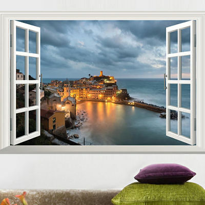 Seaside 3D Window View Removable Wall Sticker Vinyl Art Home Decal Decor Mural
