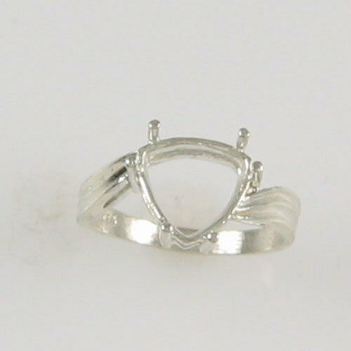 PRE-NOTCHED 10MM TRILLION SOLITAIRE RING .925 STERLING SILVER SIZES 5-9 CR22SS