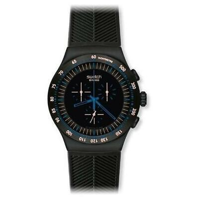 Swatch In Dark Chrono Black Dial SS Silicone Quartz Men's Watch YOB103