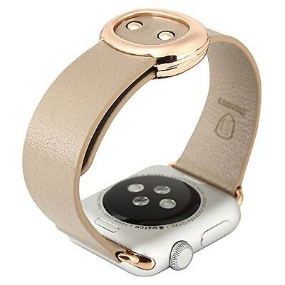 38mm Genuine Leather Strap Replacement Wrist Band for Apple Watch, Khaki, New