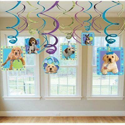 PUPPY PARTY SWIRL HANGING DECORATIONS (12) ~ Birthday Party Supplies Foil Dogs - Puppy Birthday Decorations