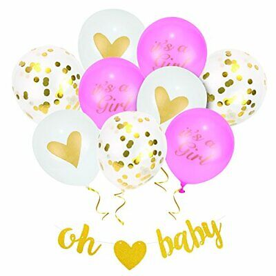 Baby Shower Party Decorations for Baby Girl, Printed Latex Confetti Balloons Dec](Baby Shower Balloons For Girls)