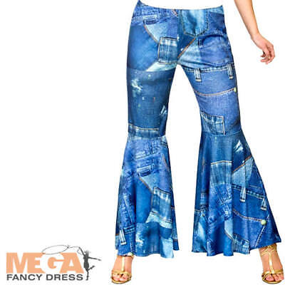 Flared Hippe Jeans Ladies Fancy Dress Hippy 60s 70s Costume Accessory Trousers  - Hippe Costumes