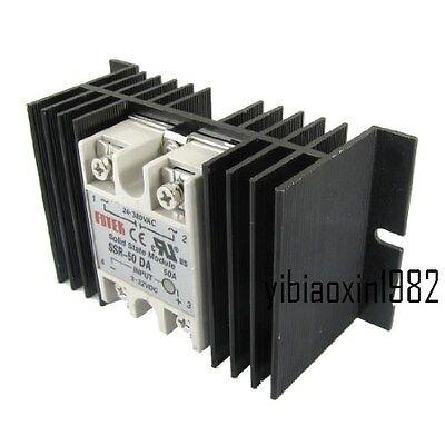 Single Phase Solid State Relay Ssr-50da 3-32v Dc 24-380v Ac Aluminum Heat Sink