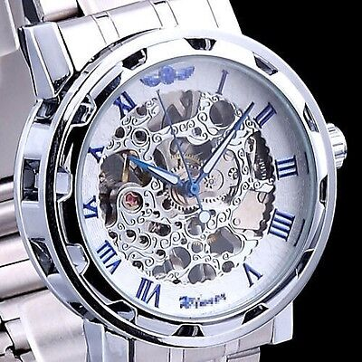 $15.19 - Luxury Mechanical Men's Steampunk Skeleton Silver Stainless Steel Wrist Watch