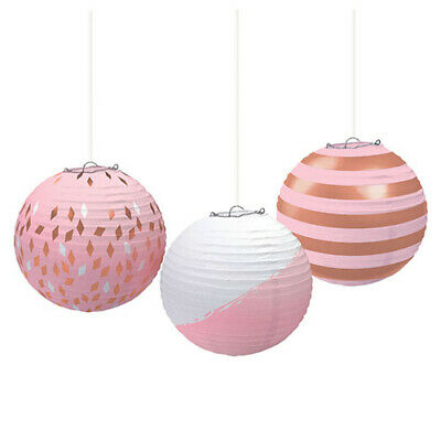Gold Paper Lanterns (ROSE GOLD BLUSH PAPER LANTERNS (3) ~ Wedding Birthday Party Supplies)