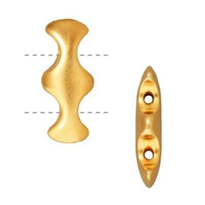 Gold Plated 2 Hole Hourglass Spacer Beads 18.5mm (2) Plated 2 Hole Spacer