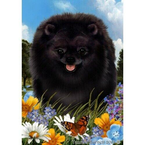 Summer House Flag - Black Pomeranian 18255