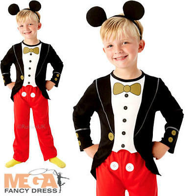 Mickey Mouse Tuxedo Boys Fancy Dress Childs Kids Disney Costume Outfit + Ears