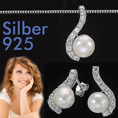 Hochzeit Süßwasser Zucht Perlen Braut Schmuck Set Ohrringe Kette Echt Silber 925