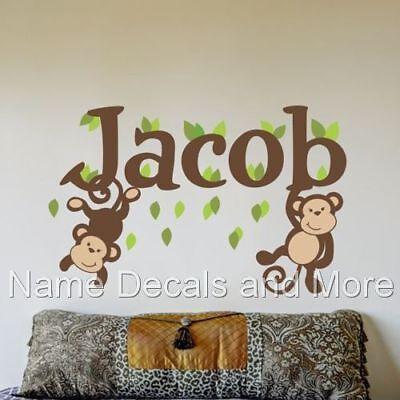 Boys Name Monogram Nursery Wall Decals Baby Monkey Monkeys Bedroom Vinyl Sticker