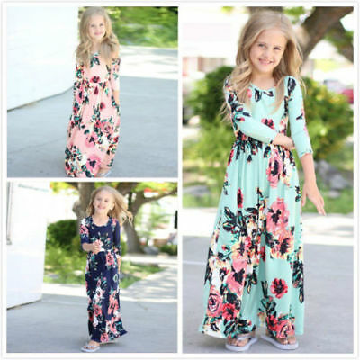 Long Dress Girl (US Kids Baby Girl Fashion Boho Long Maxi Dress Clothing Long Sleeve Floral)