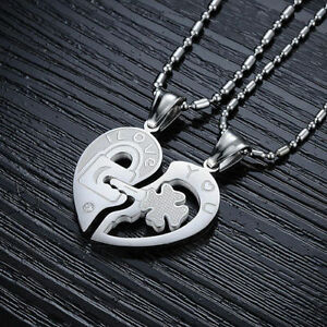 Love You Lock And Key Couples Heart Necklaces