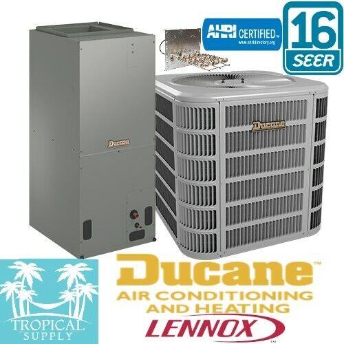 3 Ton A/C Split System 16 Seer Ducane Lennox Cond & Air handler With Heat Strip