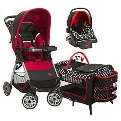 3 Piece Set Disney Mickey Mouse Travel System Stroller Car Seat Play Yard Crib ](Mickey Mouse Play Yard)
