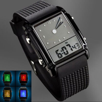 Casual Waterproof Men's Digital Analog LED Light Hands Rubber Alarm Wrist (Rectangle Solid)
