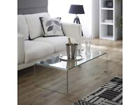 Geo-Glass Clear Rectangular Coffee Table Curved Bent Side Toughened Safety GG94