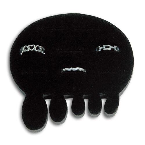 "5 Black Velvet 8 Slot Small Toe Ring Displays  3 1/4""W x 3 1/4""D x 5/8""H"