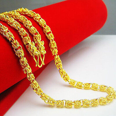 Necklace Dragon Head Unisex 24K Yellow Gold Filled Mens Dragon Bones Link Chain