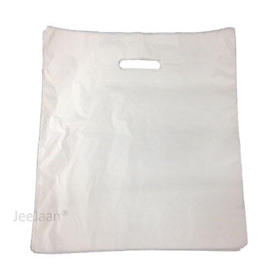 LARGE SILVER GREY PLASTIC BAGS ~ BOUTIQUE GIFT SHOP CARRIER BAG 15x18x3 INCHES