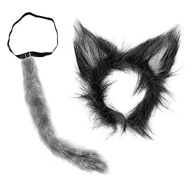 WOLF EARS AND TAIL SET GREY  BAD WOLF WEREWOLF WOLFMAN COSTUME DOG - Dog Ears And Tail Costume
