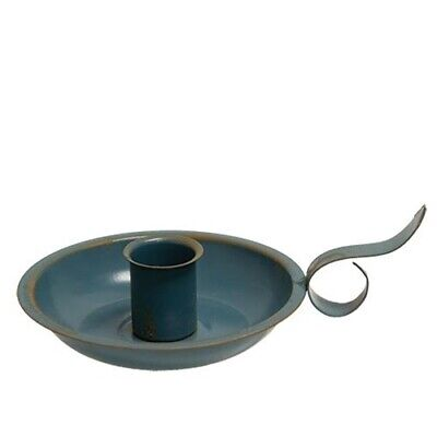 Vintage Blue Candle Pan Holder with Rustic Accents and Handle Grip - Country
