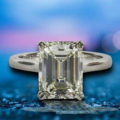 Engagement 4.26 Carat GIA Cert Emerald Cut Diamond K VVS2 Clarity Grade Ring PLT