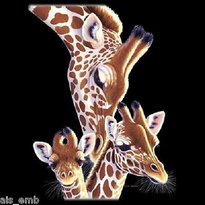 Giraffe Family 3d Ink Heat Press Transfer For Shirt Sweatshirt Tote Fabric 271