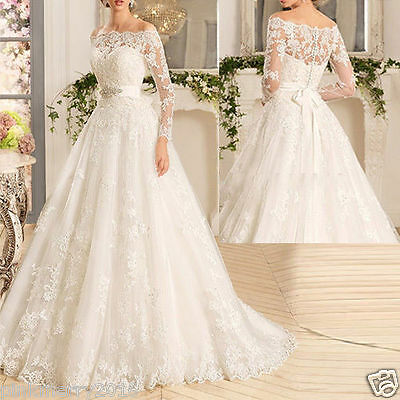 Neu Weiß Elfenbein A-Linie Spitze Langarm Brautkleider Hochzeitskleid Ballkleid