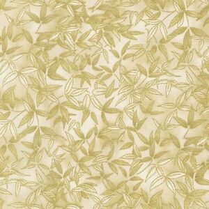 Robert Kaufman Fusions Kyoto Cream Leaves Metallic