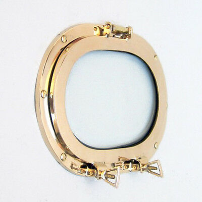 "Nautical Solid Brass Ship's Porthole 12"" Window Oval Glass Maritime Wall Decor"